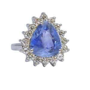 Certified Sri Lankan Sapphire Diamond Gold Ring