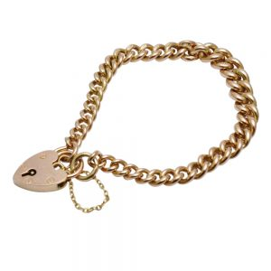 9ct Gold Curb Link Bracelet With Heart Padlock