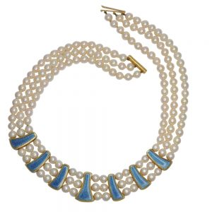 Leo de Vroomen Pearl Gold Enamel Necklace