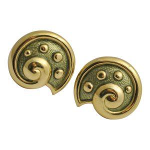 Leo de Vroomen 18ct Gold Green Enamel Shell Earrings