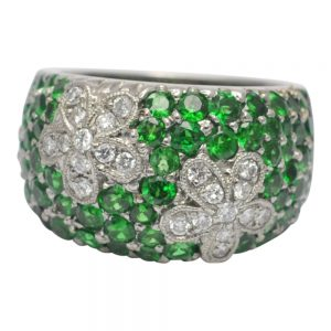 Tsavorite Garnet Diamond Gold Band Ring