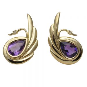 Amethyst Diamond 14ct Gold Swan Earrings