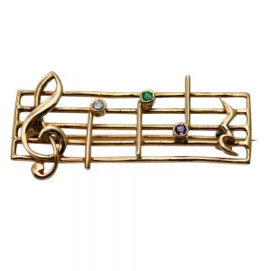 9ct Gold Gem Set Music DEAR Brooch