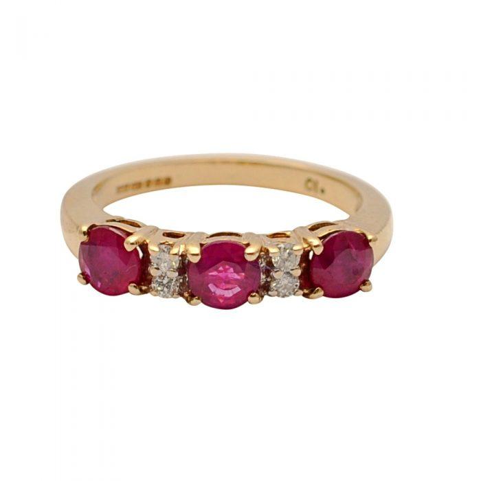 Ruby Diamond Gold Trilogy Ring