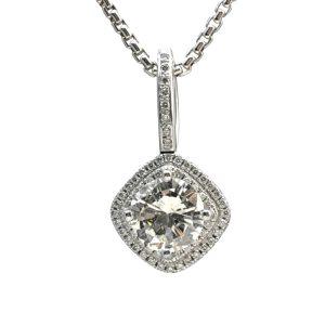Diamond Platinum Halo Pendant