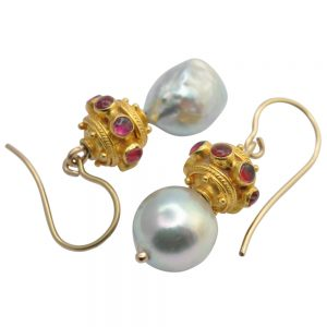 Pearl Ruby Gold Earrings
