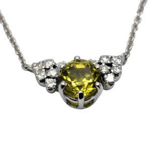 Grossular Andradite Garnet Diamond Gold Necklace