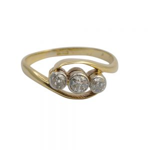 Victorian Diamond Three Stone Gold Engagement Ring