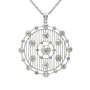 Art Deco Platinum Diamond Pendant