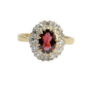 Garnet Diamond Gold Halo Engagement Ring