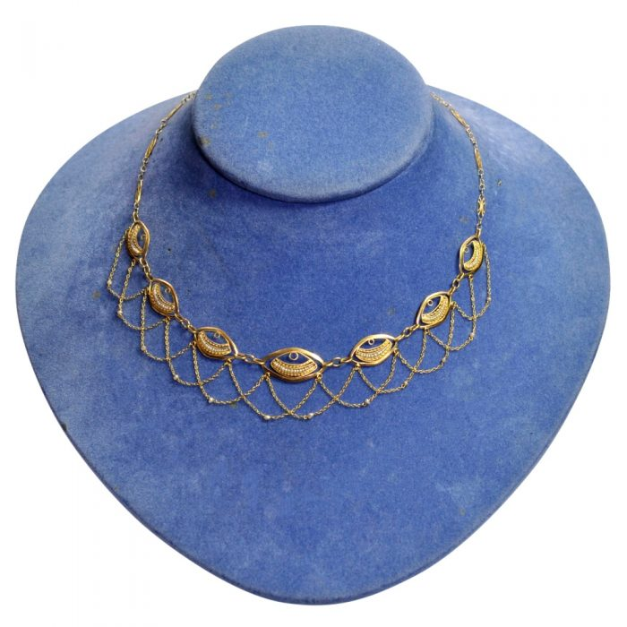 French Belle Epoque Gold Pearl Necklace