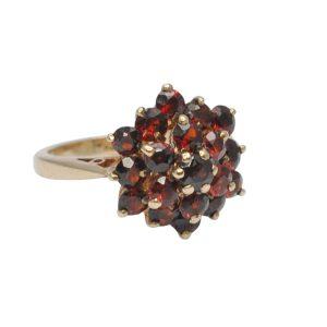 Vintage Garnet & Gold Cluster Ring