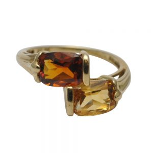 Citrine Crossover Gold Ring