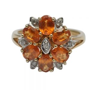 Fire Opal Diamond and Gold Ring