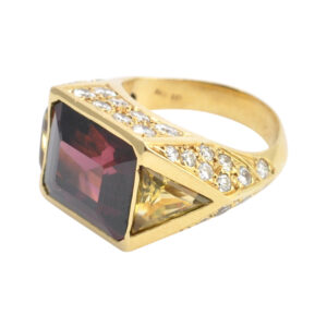 Garnet Citrine and Diamond Gold Ring