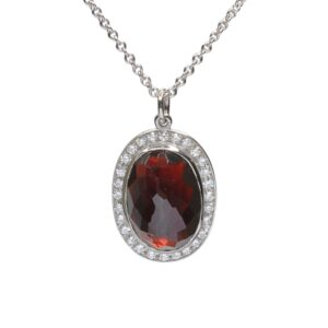 Faceted Cabochon Garnet and Diamond Pendant