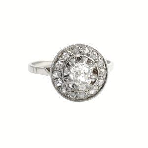 French Diamond Halo Engagement Ring
