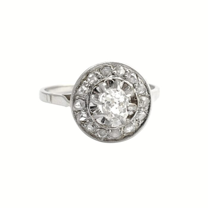 French Diamond Halo Engagement Ring