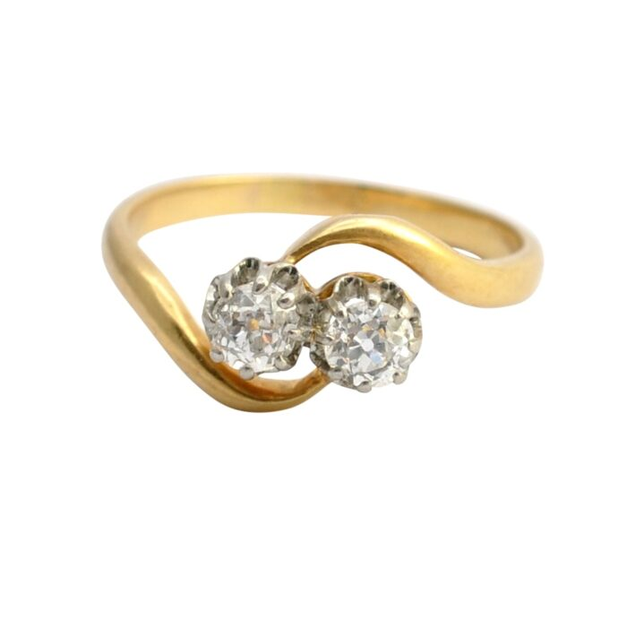 Antique French Diamond Crossover Gold Ring