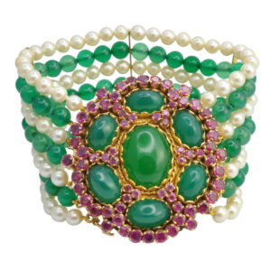 Chrysoprase Ruby and Pearl Gold Bracelet