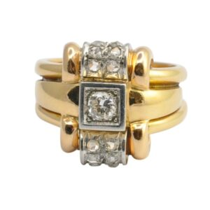 Retro Mid Century French Diamond and Gold Ring