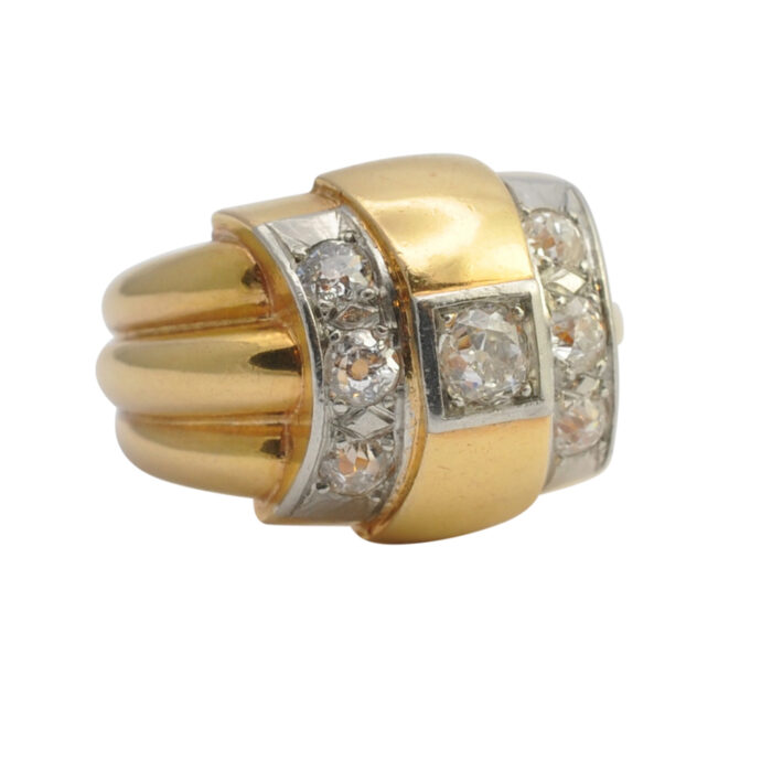 French Retro 1940s Diamond and Gold Ring
