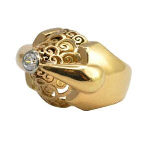 French Retro 1940s Diamond Gold Ring