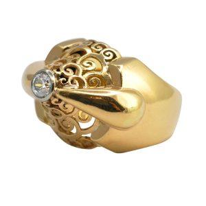 French Retro 1940s Diamond Gold Ring