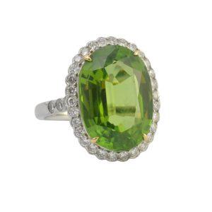 Large Peridot and Diamond Ring