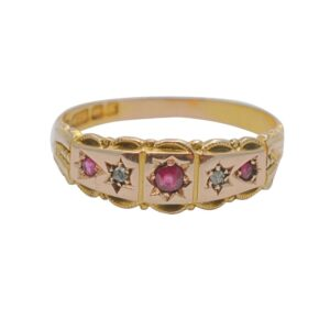 Antique Ruby and Diamond Band Ring