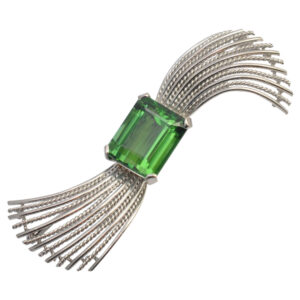Tourmaline and 18ct White Gold Brooch
