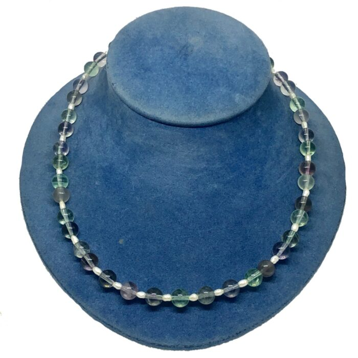 Fluorite Freshwater Pearl Silver necklace