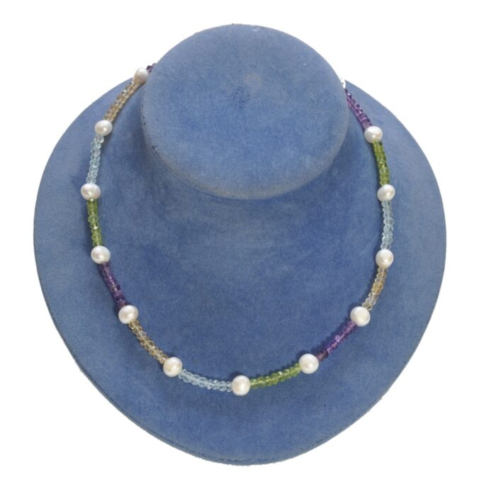 Multi Gemstone Freshwater Pearl Silver Necklace