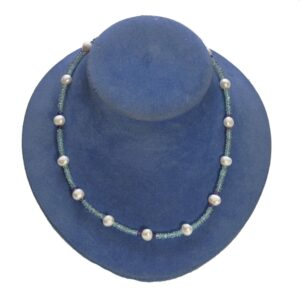 Apatite Amethyst Freshwater Pearl Silver Necklace