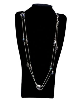 Double Length Silver Black Baroque Pearl Necklace