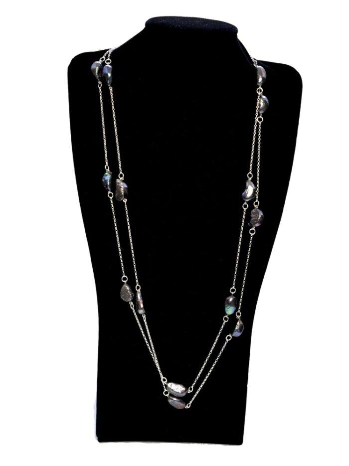 Double Length Silver Black Baroque Pearl Necklace