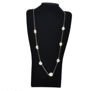 Long Sterling Silver Baroque Pearl Station Necklace