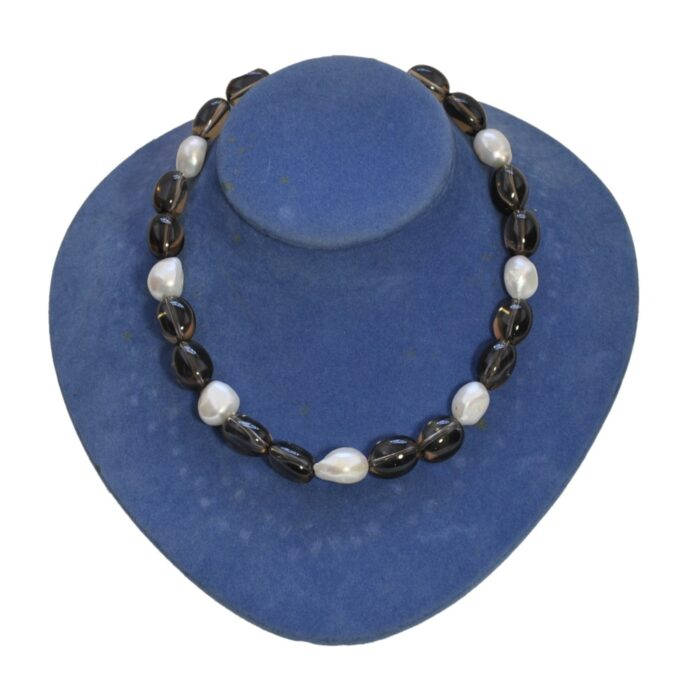 Smokey Quartz Baroque Pearl Necklace