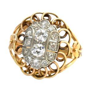 Mid Century French Retro Diamond Ring