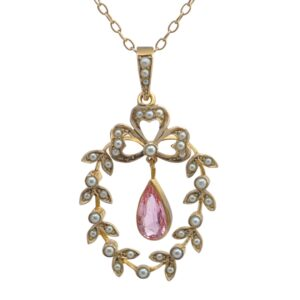 Victorian Pink Topaz and Seed Pearl Pendant