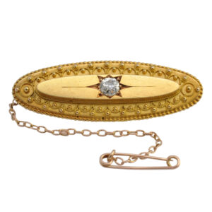 Victorian Diamond and 15ct Gold Brooch