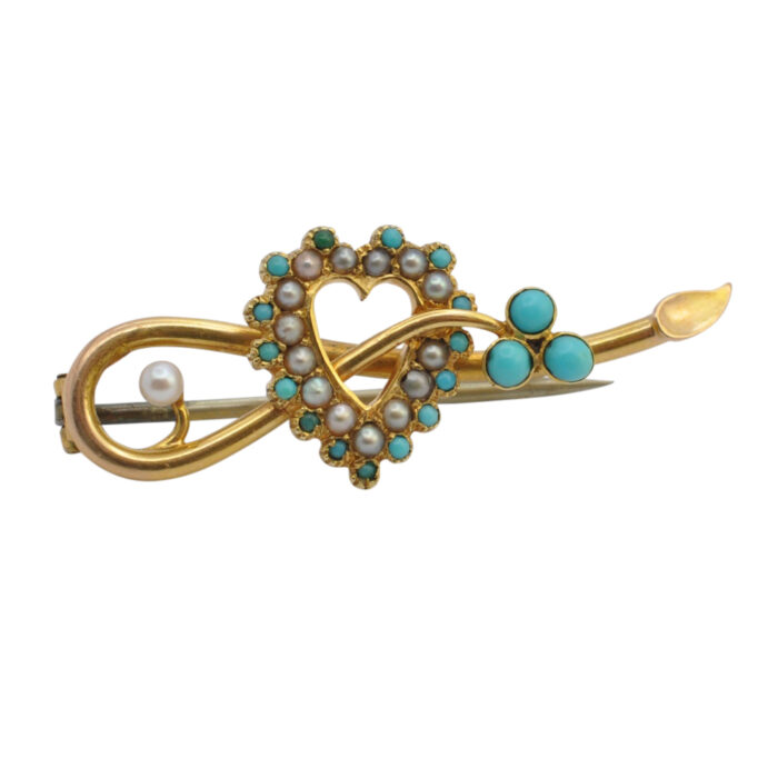 Victorian Turquoise and Pearl Heart Brooch