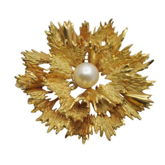 Mid Century Gold Modernist Abstract Floral Brooch