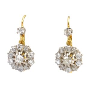 1920s Diamond and Platinum Cluster Earrings