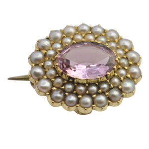 Victorian Pink Topaz and Pearl 15ct Gold Brooch