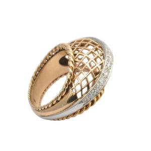 Mid Century Diamond and Gold Bombé Ring