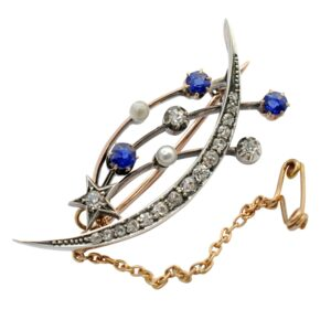 Victorian Sapphire and Diamond Celestial Brooch