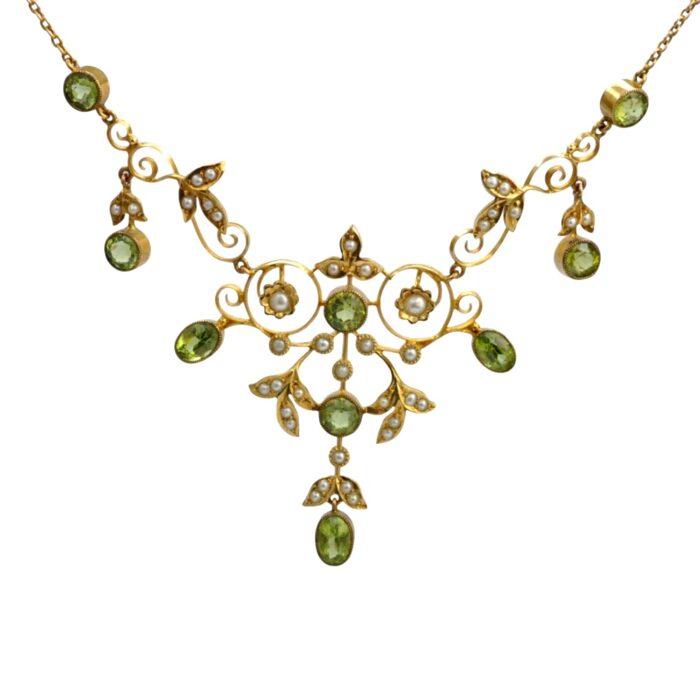 Edwardian Peridot Pearl 15ct Gold Necklace