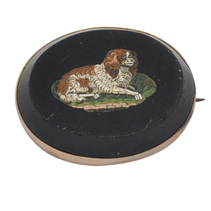 Victorian King Charles Spaniel Micro Mosaic Brooch