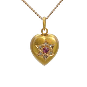 Victorian Diamond and Ruby Gold Heart Pendant